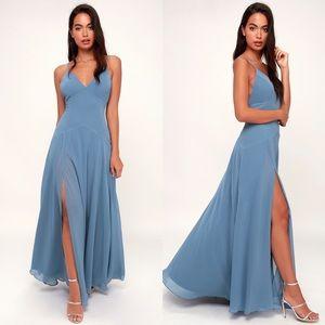 LOVELY STILL SLATE BLUE SLEEVELESS MAXI DRESS